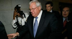 WASHINGTON - OCTOBER 24: Speaker of the House Dennis Hastert (R-IL) leaves the House Committee on Standards of Official Conduct after testifying about the House page scandal October 24, 2006 at the U.S. Capitol in Washington, DC. Rep Tom Reynolds (R-NY) has said the he warned Speaker of the House Dennis Hastert (R-IL) about inappropriate contact between former U.S. Rep. Mark Foley (R-FL) and teenage House pages in the spring. Hastert says he does not recall having a conversation with Reynolds about Foley.  (Photo by Mark Wilson/Getty Images)